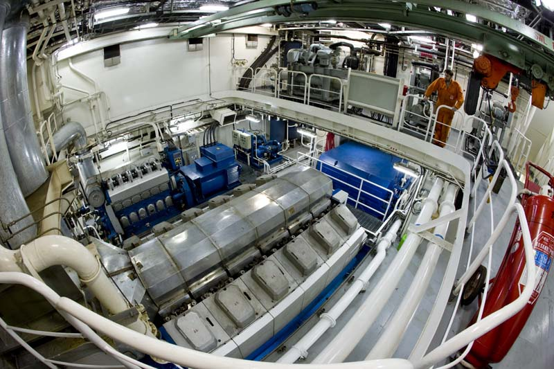 Yacht Express' mammoth engine room houses its diesel electric propulsion ...
