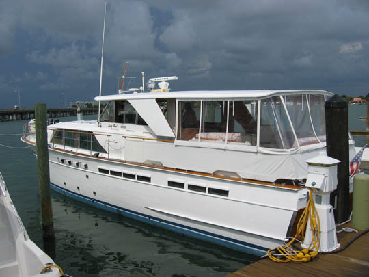 This Chris Craft Constellation was docked at the Sarasota Yacht Club.