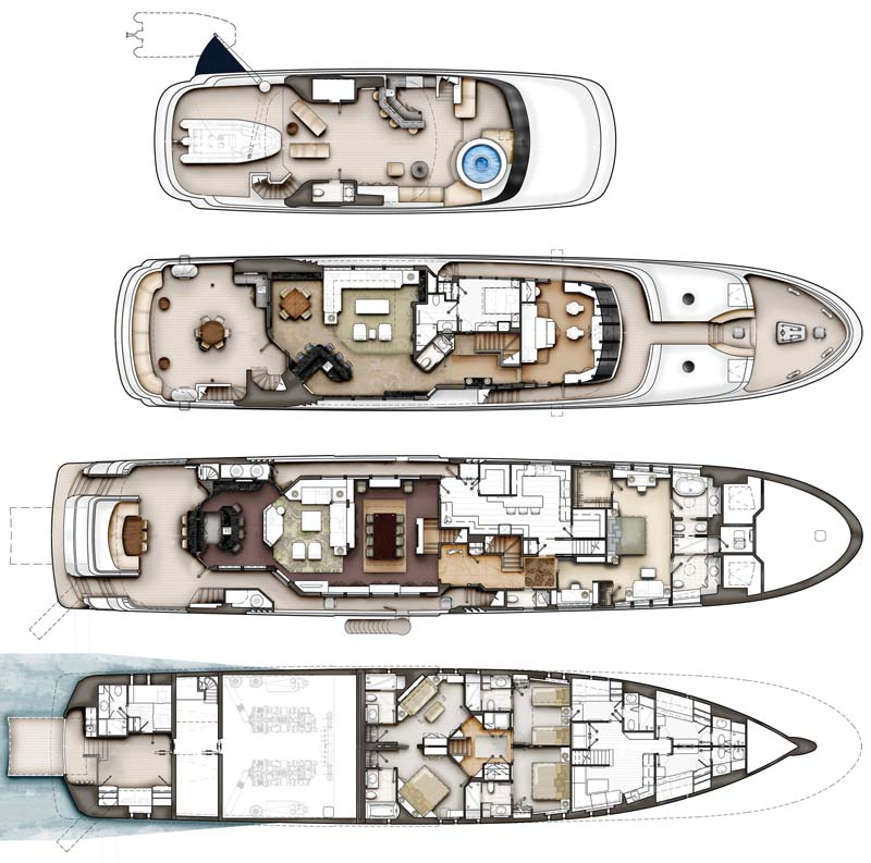 Review crescent 144 39 tri deck superyacht yachtforums for The world deck plans