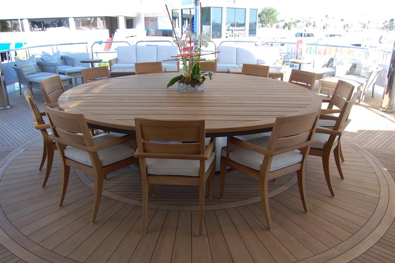 ... This Finely Crafted Teak Table And Chairs Offers A Sumptuous Feast For  Ten, All Falling Under The Protective Shade Of The Aft Deck Overhang.