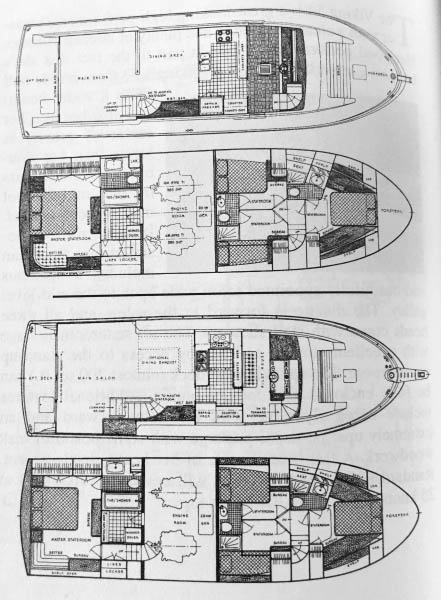 Floor plan for a 1989 55' Viking Motor Yacht wide ... on